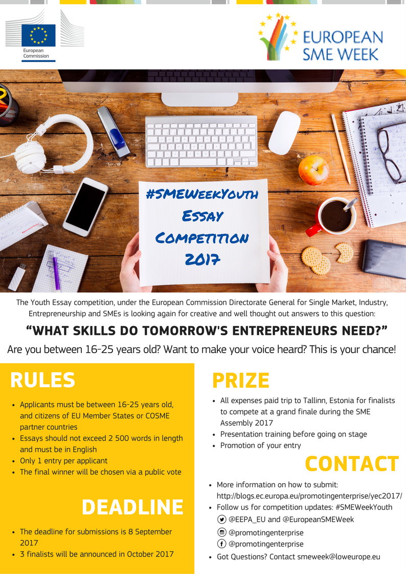 european sme week youth essay competition scholarship positions youth essay comp flyer
